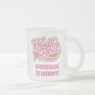 Animal Trainer Gift (Worlds Best) 10 Oz Frosted Glass Coffee Mug