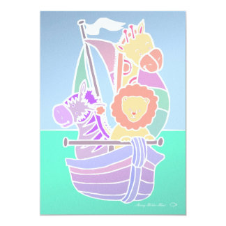 Animal Voyage Baby 5x7 Paper Invitation Card