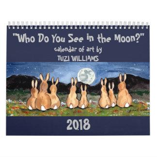 Animal Wildlife Moon 2018 Calendar Art Rabbit