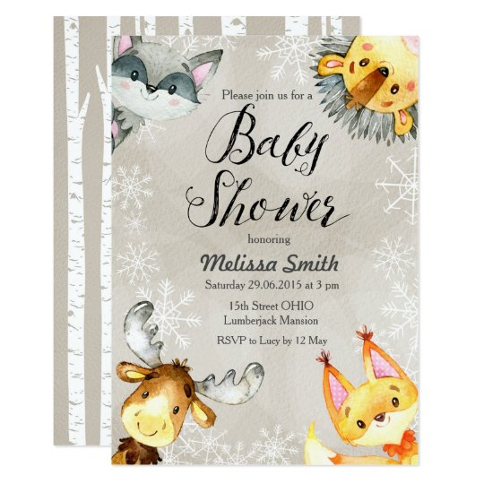 Animal winter woodland baby shower invitations zazzle animal winter woodland baby shower invitations filmwisefo