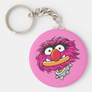 Animal With Collar Basic Round Button Keychain