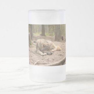 Animal Wolf Peace Love Wild Country Nature Frosted Glass Beer Mug