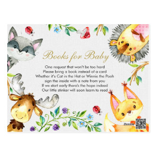 Animal Woodland - Bring a book insert Postcard