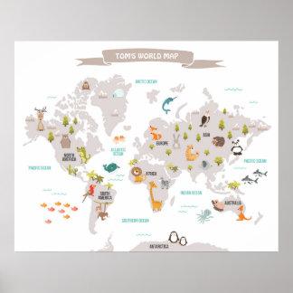Animal World poster World Map Wall decal Kids
