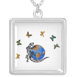 Animal World Square Pendant Necklace