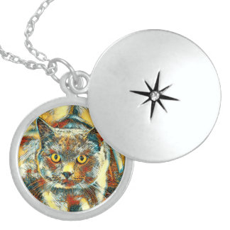 AnimalArt_Cat_20170901_by_JAMColors Sterling Silver Necklace