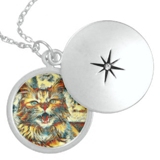 AnimalArt_Cat_20170906_by_JAMColors Locket Necklace