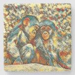 AnimalArt_Chimpanzee_20170601_by_JAMColors Stone Coaster