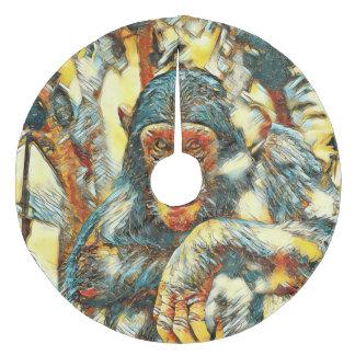 AnimalArt_Chimpanzee_20180201_by_JAMColors Fleece Tree Skirt