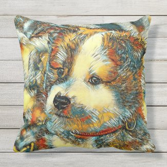 AnimalArt_Dog_20170802_by_JAMColors Outdoor Pillow