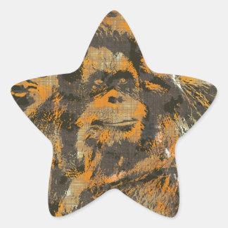 AnimalART Orang Utan Pegatina En Forma De Estrella