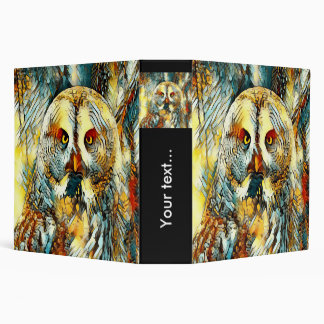 AnimalArt_Owl_20170602_by_JAMColors 3 Ring Binder