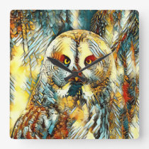 AnimalArt_Owl_20170602_by_JAMColors Square Wall Clock