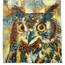 AnimalArt_Owl_20170902_by_JAMColors Shower Curtain