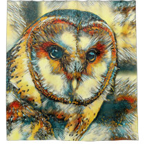 AnimalArt_Owl_20170915_by_JAMColors Shower Curtain