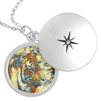 AnimalArt_Tiger_20170604_by_JAMColors Locket Necklace