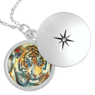 AnimalArt_Tiger_20170611_by_JAMColors Sterling Silver Necklace