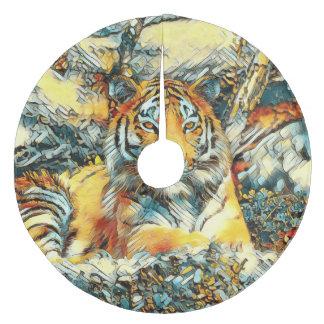 AnimalArt_Tiger_20171202_by_JAMColors Fleece Tree Skirt