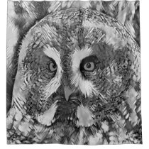 AnimalArtBW_Owl_20170601_by_JAMColors Shower Curtain