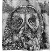 AnimalArtBW_Owl_20170901_by_JAMColors Shower Curtain