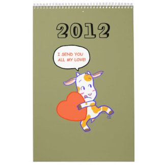 Animales 2012 del dibujo animado calendario