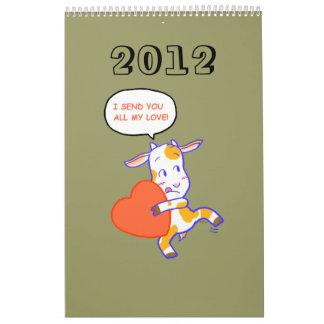 Animales 2012 del dibujo animado calendarios de pared