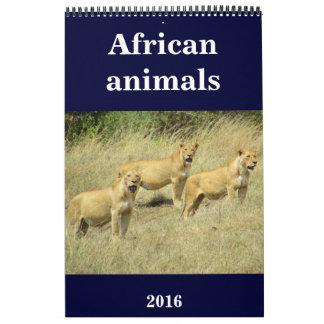 animales 2016 de África Calendario De Pared