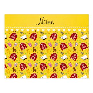Animales amarillos conocidos personalizados del postal