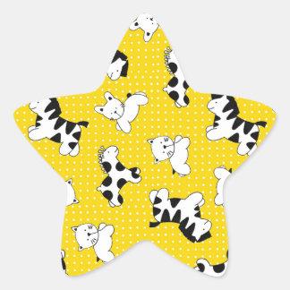Animales amarillos del bebé del lunar pegatina en forma de estrella