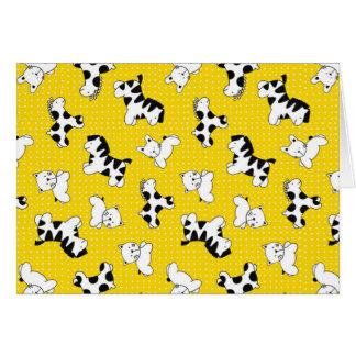 Animales amarillos del bebé del lunar tarjeta de felicitación