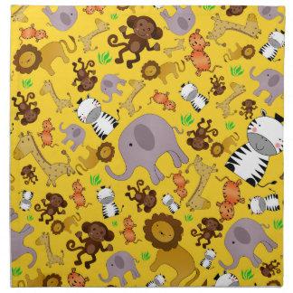 Animales amarillos del safari de selva servilletas de papel