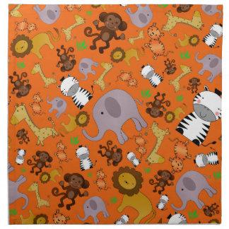 Animales anaranjados del safari de selva servilletas imprimidas