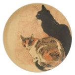 Animales antiguos de Theophile Steinlen de los gat Platos Para Fiestas