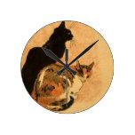 Animales antiguos de Theophile Steinlen de los gat Relojes De Pared