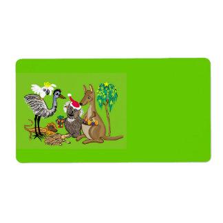 Animales australianos del navidad etiqueta de envío