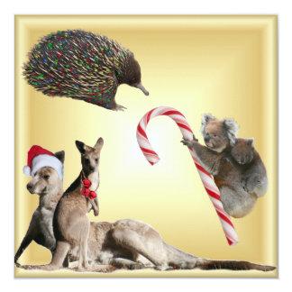"""Animales australianos del navidad invitación 5.25"""" x 5.25"""""""