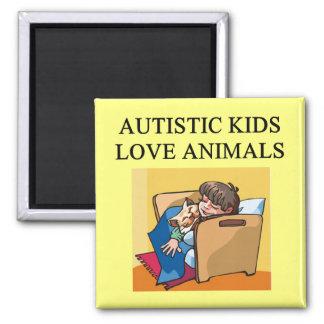 animales autísticos del amor de los niños imán cuadrado