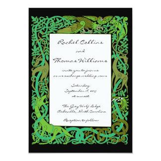 Animales célticos de los Forestes Green que casan Invitación 12,7 X 17,8 Cm