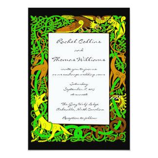 Animales célticos de los verdes brillantes que invitación 12,7 x 17,8 cm