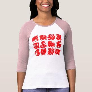 Animales chinos del zodiaco en rosa playeras