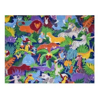 Animales coloridos de la selva postales