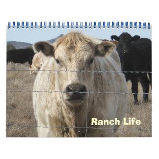 Animales coloridos del rancho calendario