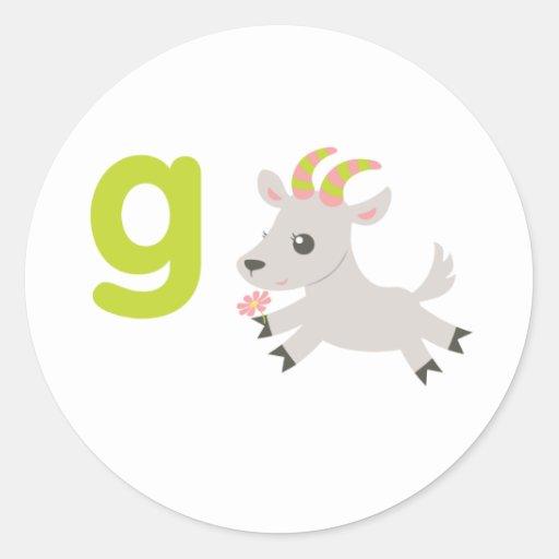 Animales de ABC - cabra locuaz Pegatina Redonda