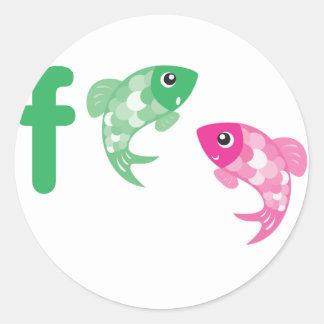 Animales de ABC - pescados Etiqueta Redonda