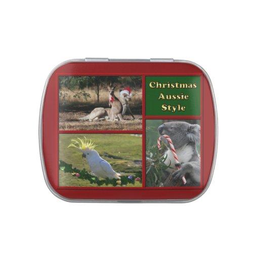 Animales de Aussie de las Felices Navidad Frascos De Caramelos