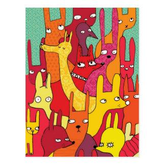 Animales de Colorfull Postal