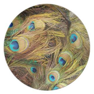 Animales de la fauna de las plumas de pájaro del plato de cena
