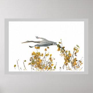 Animales de la fauna de los pájaros de la garza de póster