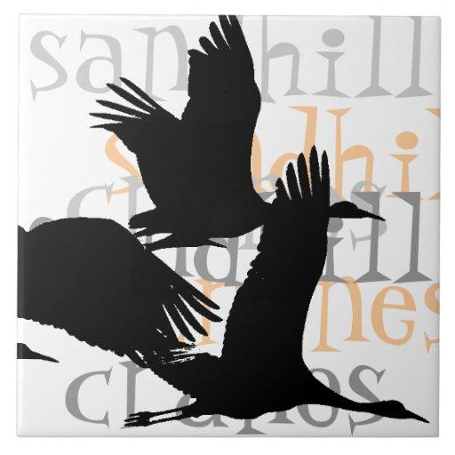 Animales de la fauna de los pájaros de la grúa de azulejo cuadrado grande