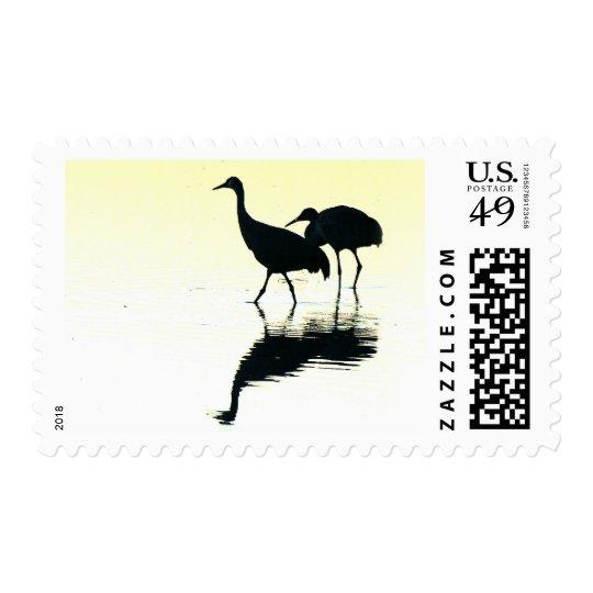 Animales de la fauna de los pájaros de la grúa de sellos postales